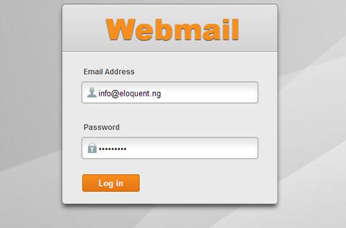 Webmail login dialogue box